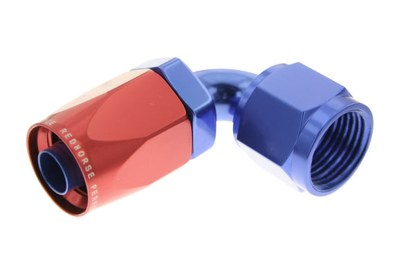-12 90 Degree Non-Swivel AN Hose End - Red & Blue