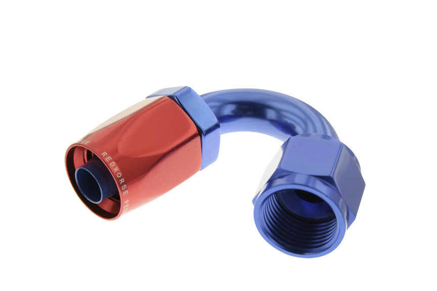 '-12 150 Degree Non-Swivel AN Hose End - Red & Blue