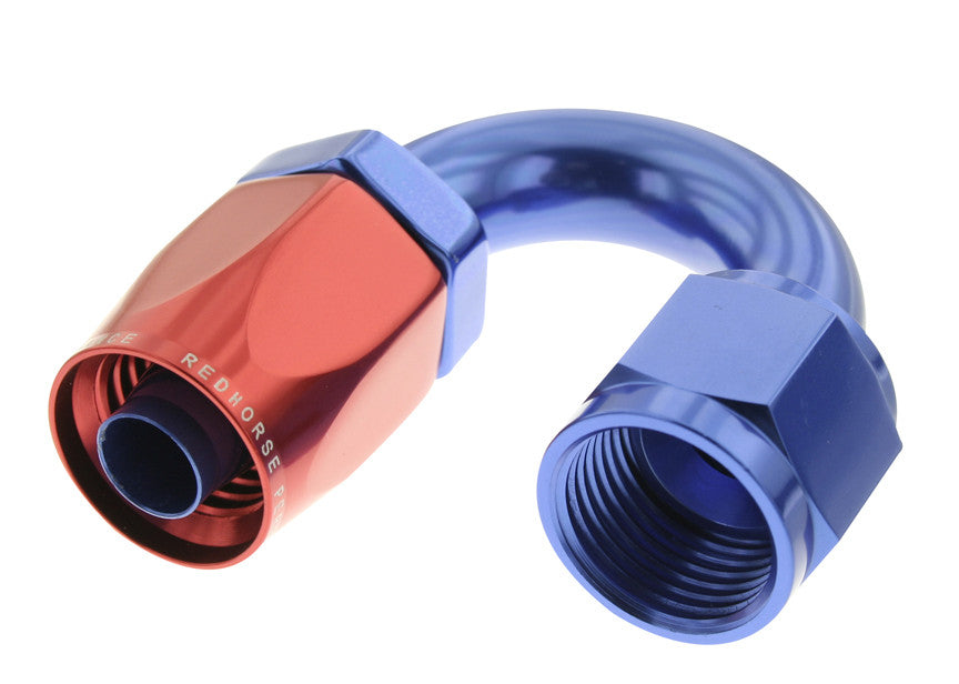 -16 180 Degree Non-Swivel AN Hose End - Red & Blue