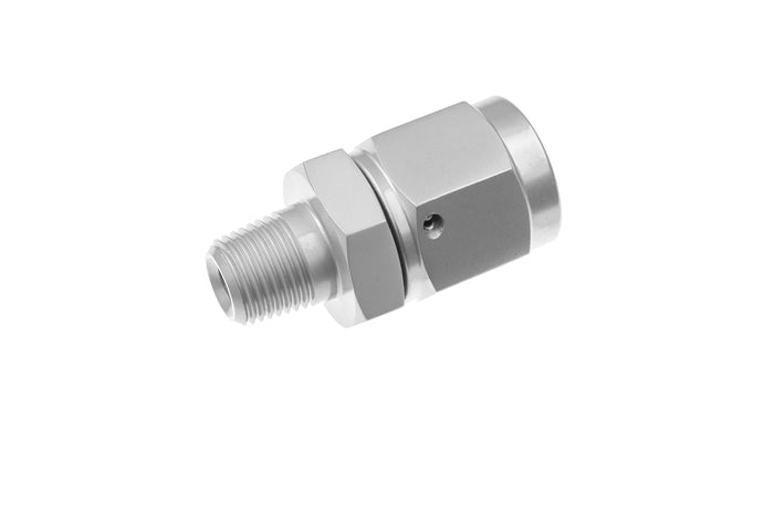 -06 AN female swivel to 1/8NPT male adapter, straight- clear