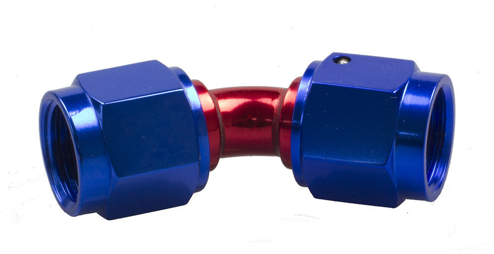 -12 Female to Female AN/JIC Female Swivel Coupling - 45 Degree - Red & Blue