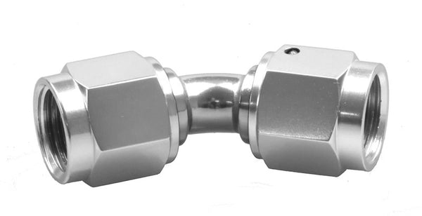 -04 Female to Female AN/JIC Female Swivel Coupling - 45 Degree - Clear