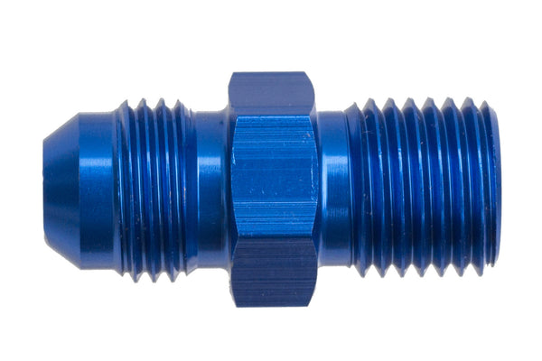 -08 Male AN/JIC Flare to M10x1.0 Inverted Adapter - Blue