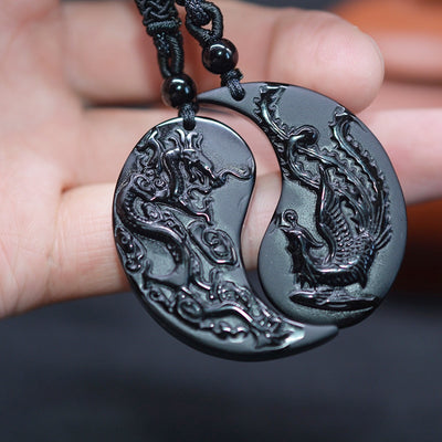 1 ensemble obsidienne sculpture Dragon et Phoenix collier pendentif
