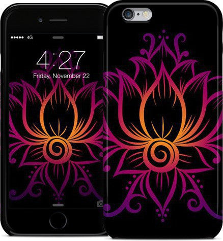 Swirl Lotus Black Phone Case