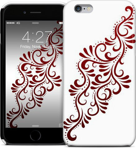 Mia Swirlys Red on White Phone Case