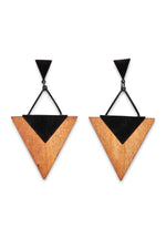 WOODEN TRIANGULAR DROP EARRING