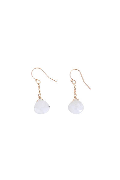 14 karat gold chain drop earrings rainbow moonstone crystal jewelry womens classic style simple minimal lightweight elegant hand made maui haiku wings hawaii