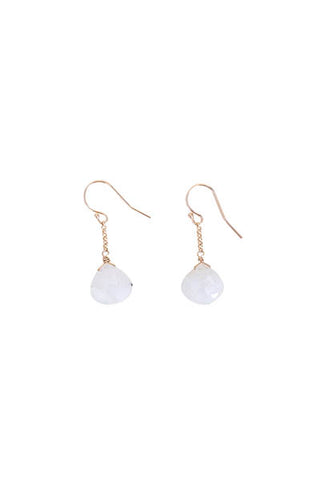 14 karat gold chain drop earrings rainbow moonstone