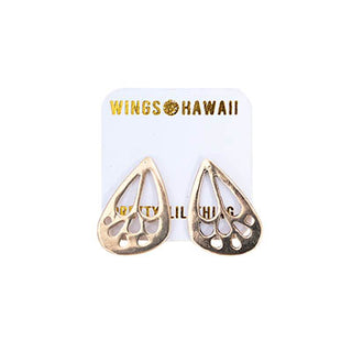 wings hawaii hand made butterfly wing small stud earrings sterling silver 14 karat yellow gold