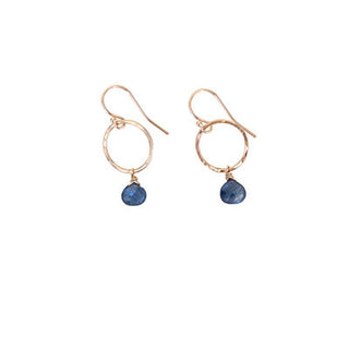 14k Full Circle Earrings - Sapphire