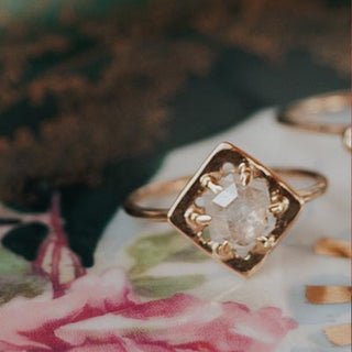 14k yellow gold rose cut raw diamond womens ring dainty fine classic heirloom minimal style jewelry hand made haiku maui wings hawaii