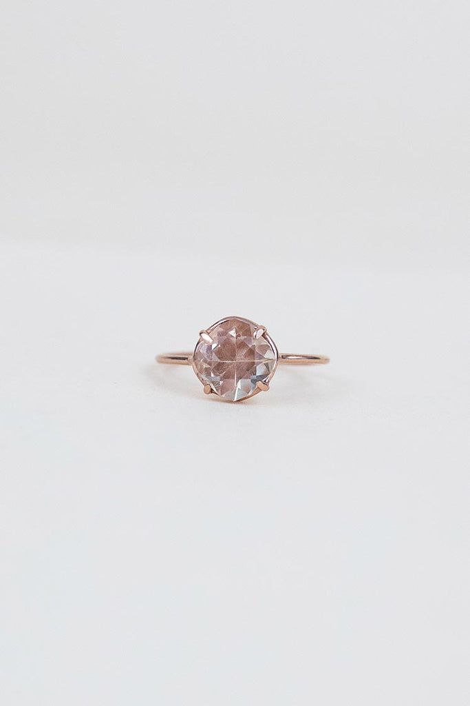 sunstone prong set on solid 14k rose gold ring women's crystal jewelry fine dainty chic boho magic jewels wings hawaii