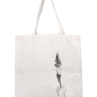 cotton canvas tote with mermaid print