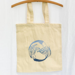 cotton canvas tote bag with pisces mermaid print in blue