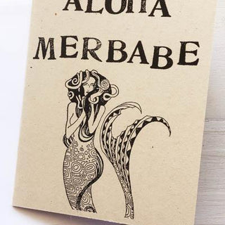 Wild Aloha Card - Wings Hawai'i MERMAID HAIR ALOHA QUOTE DRAWING ART ARTWORK HAND DRAWN MERBABE SEXY PRETTY GIRLFRIEND TAIL TALE BLOCK PRINT BLANK LOVE FRIEMDSHIP