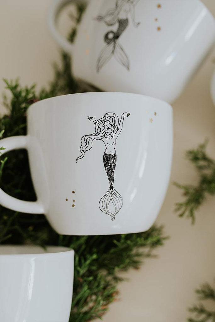 aquarius mermaid zodiac ceramic mug black and white wings hawaii