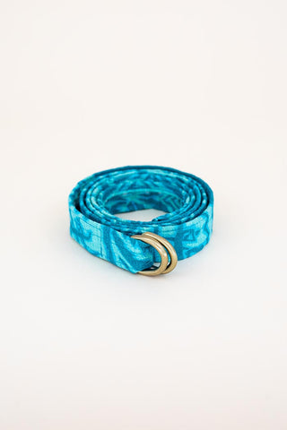 double d ring belt vintage fabric hand sewn haiku brass closure  wings hawaii blue teal