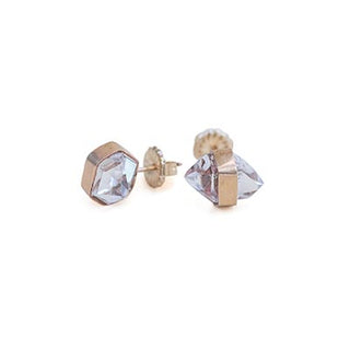 14 karat gold rose gold sterling silver herkimer diamond stone banded crystal stud earrings hand made maui wings hawaii