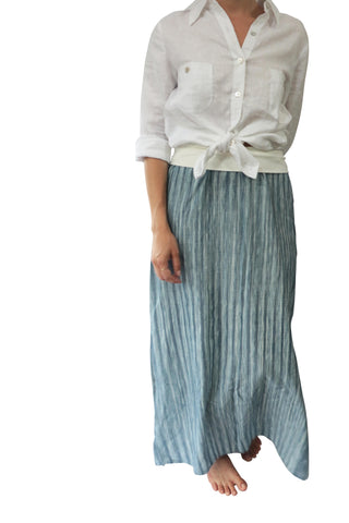 Indigo Stripe Maxi Skirt