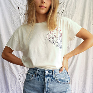 heart and flowers graphic tee shirt super soft womens casual and comfy top white vintage feel womens ladies gals everyday top screen printed haiku maui wings hawaii