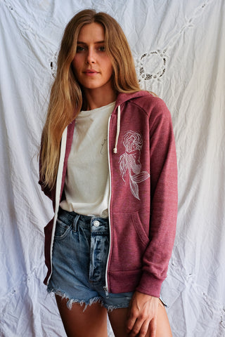 eco fleece zip up style mermaid hoodie with pockets super soft and comfy casual hand designed graphic sweatshirt screen printed haiku maui wings hawaii mermaids life beach babe