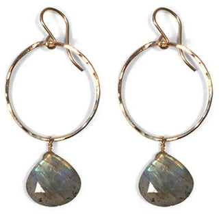 sterling silver or gold filled hammered hoop earrings labradorite gem stone crystal drop classic timeless elegant everyday magical womens jewelry made in haiku maui wings hawaii