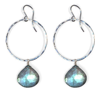 wings hawaii full circle hoop earrings labradorite gem stone blue green mermaid color jewelry sterling silver