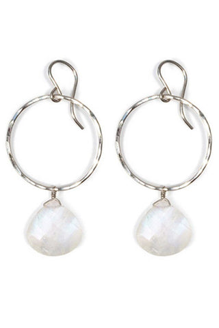 faceted 13mm rainbow moonstone teardrop gemstone on hammered hoop earring