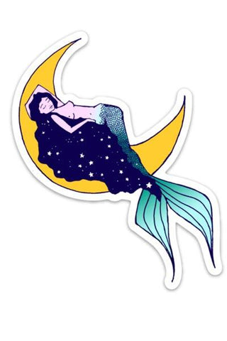 wings hawaii galaxy mermaid crescent moon stars sticker yellow teal blue babe