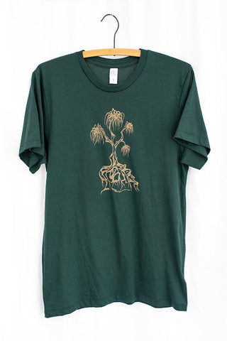 lauhala tree men's super soft cotton t-shirt tee shirt green with light yellow graphic print screen printed haiku maui wings hawaii