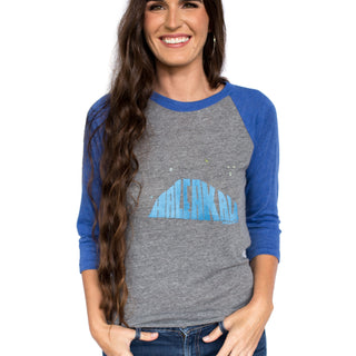 wings hawaii screen printed gray raglan baseball tee with blue 3/4 sleeves and Haleakala printed on front 50% polyester, 38% cotton, and 12% rayon