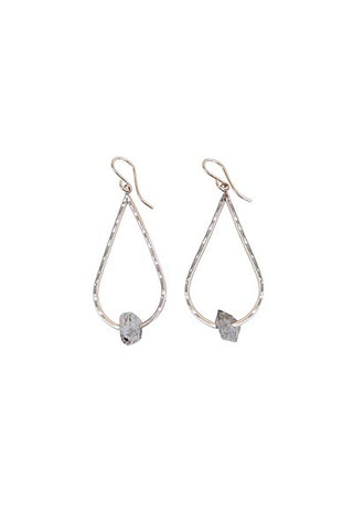 hammered teardrop shaped earrings with herkimer diamond crystals wings hawaii mermaid crystal magic jewelry sterling silver