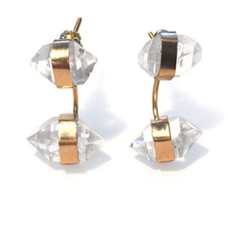wings hawaii hand made herkimer crystal diamond barbell wrapped stone earring jacket sterling silver gold filled 14 karat gold magical jewelry attunement stone