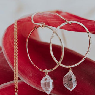 sterling silver or gold filled hammered hoop drop earrings with herkimer diamond crystal gem stones magical womens jewelry beach babe goddess energy fine dainty minimal classic style elegant and timeless mermaid pieces hand made haiku maui wings hawaii