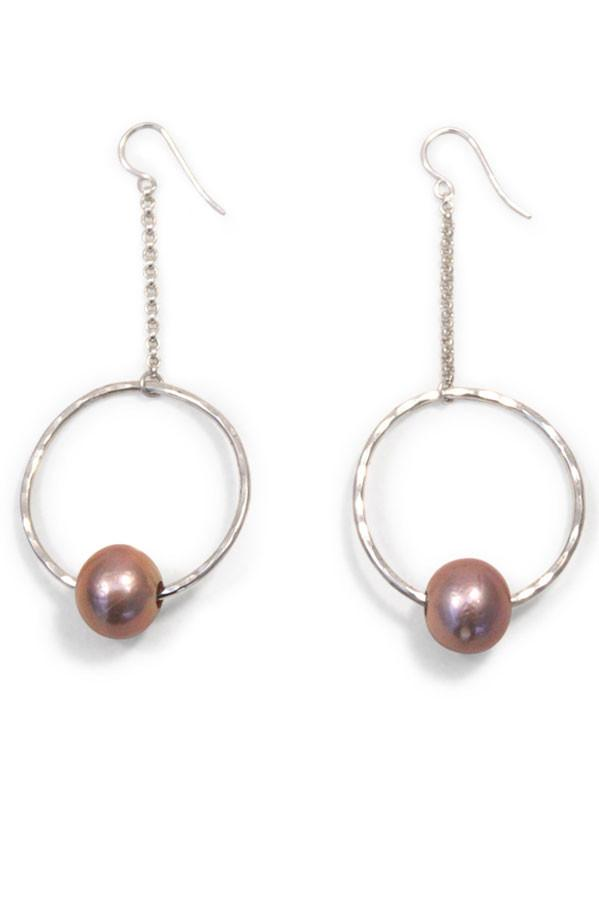 hammered hoop with pink freshwater pearl chain drop earring