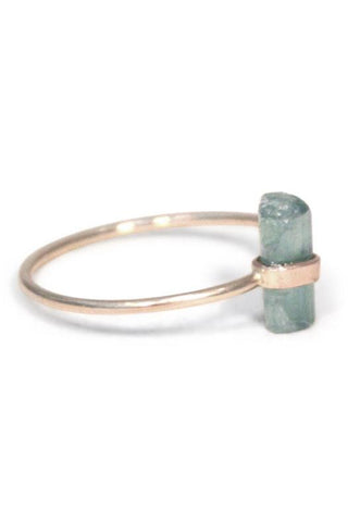 wings hawaii ring sterling silver green delicate dainty pretty aqua teal tourmaline banded handmade wrapped festival gyspy boho bohemian jewelry raw stone gem gemstone cut