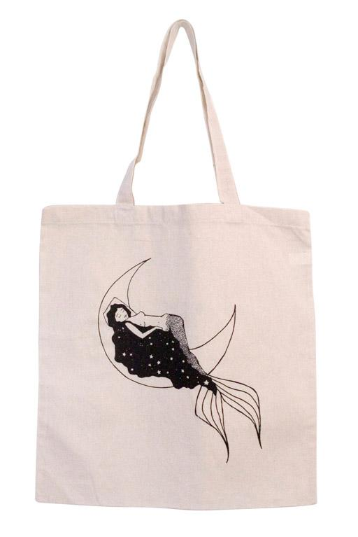 Galaxy Mermaid Tote - Wings Hawai'i BAG PURSE SHOPPING ISLAND MOON MERMAID HAIR OCEAN SKY TALE TAIL SLEEP DREAM STAR CELESTIAL SPACE UNIVERSE GYPSY GIRL BOHO BOHEMIAN LAPTOP GROCERY COTTON CANVAS PRINT SCREEN HAND DRAWN ART ARTWORK DRAWING