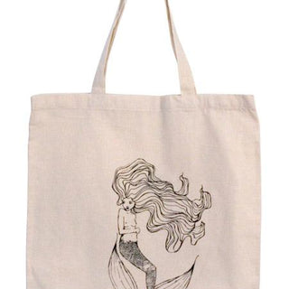 FLOATING MERMAID TOTE WINGS HAWAII HAIR TAIL TALE DRAWING DRAWN HAND SILK SCREEN PRINT PRETTY COTTON CANVAS BAG PURSE LAPTOP BEACH GROCERY SHOPPING OCEAN GIRL ISLAND SEA
