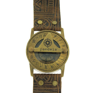 pandeia sundial compass watch antiqued vintage style brass face with moving dial tribal leather brown color wrist band women's size and style beach boho babe treasure jewelry and accessory made in haiku maui
