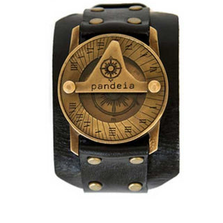 pandeia compass sundial watch antiqued vintage style brass face with black obsidian leather wrist band men's style jewelry and accessory made in haiku maui