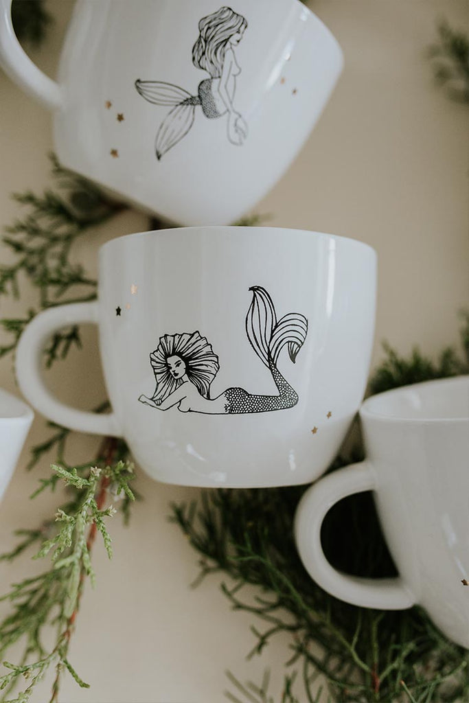 leo mermaid zodiac ceramic mug black and white wings hawaii