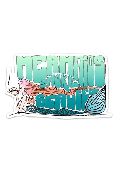 "sticker of a mermaid holding a seashell with the words ""mermaids smoke seaweed"" in teal to blue fade colors"