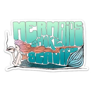 MERMAIDS SMOKE SEAWEED WINGS HAWAII STICKER BLUE TEAL GREEN ORANGE GRADIENT COLORFUL WEED PUN FUNNY SHELL TALE TAIL HAIR DREAM JOKE STONER DRAWING HAND DRAWN ARTWORK TATTOO ART HEART BEACH COVER CONCH PIPE COLLECT COLOR GIRL ISLAND