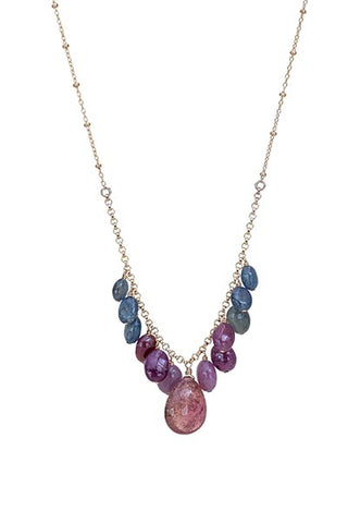 good karma chandelier necklace sapphire and pink tourmaline gems stones gold filled chain necklace rainbow colors maui made magical jewelry