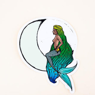 moon maid sticker mermaid long hair blue green and white stars decal wings hawaii