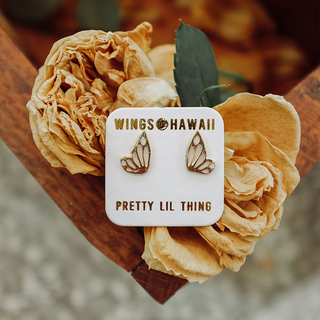 sterling silver or 14k yellow gold tiny butterfly wing stud earrings women's fine jewelry everyday mermaid treasure symbol of transformation and flight lovely little gems made in haiku maui wings hawaii