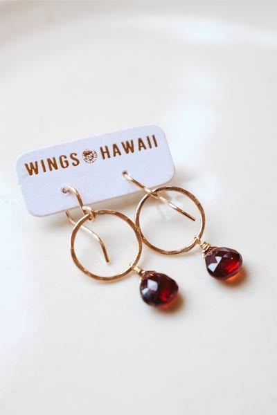 wings hawaii hand made small circle hoop earrings garnet gem stones january aquarius birthstone gold filled