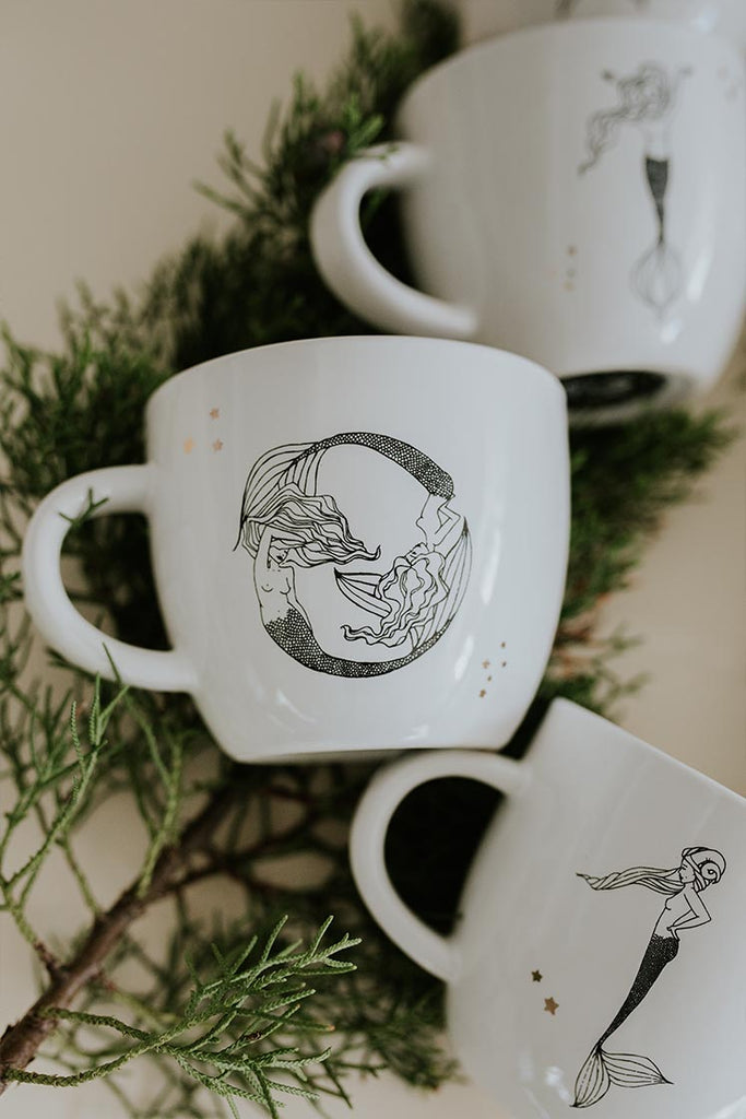 pisces mermaid zodiac ceramic mug black and white wings hawaii