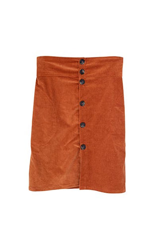 Neve Button Pocket Skirt - Rust